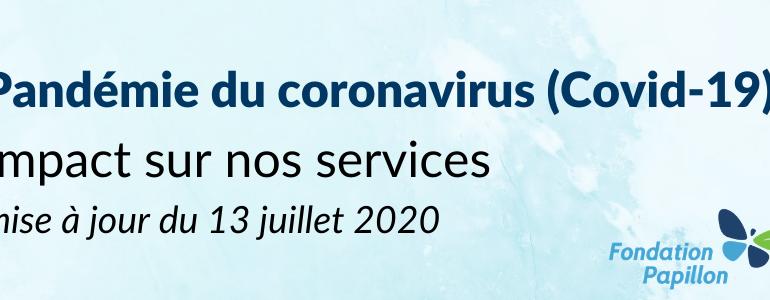Covid-19 : impact au 13 juillet 2020