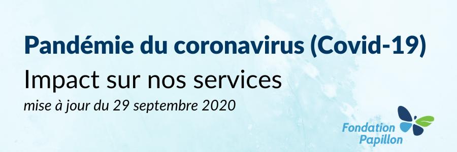 Covid-19 : impact au 29 septembre 2020